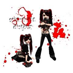 Broken Emo Blood Splatter