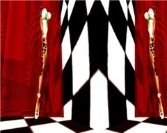 Split Screen Red Curtain Shot