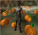 Zombie in a pumpkin patch