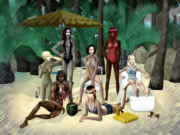 The Aviemore Girls on the beach