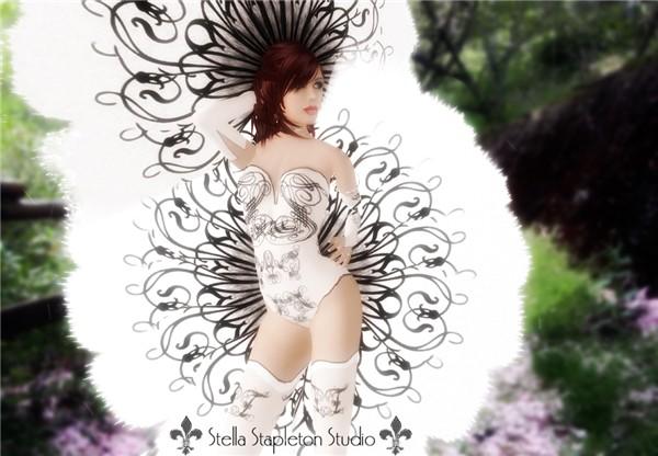 french black swirl showgir