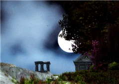 Ruins at night