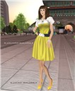 Acid rosebelt dress yellow