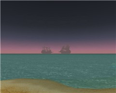 Pirate ships far away