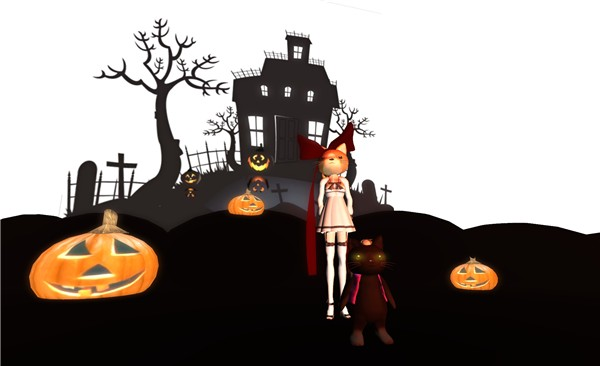 silhouette of halloween house and requisite pumpkins - Torley Olmstead