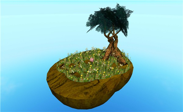 floating island with pillow, tree, flowers - Torley Olmstead