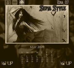 May Calendar Sepia Style
