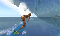 rafee surfing waves in second life