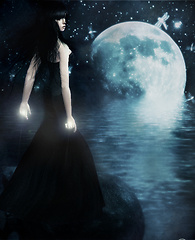 in front the moon