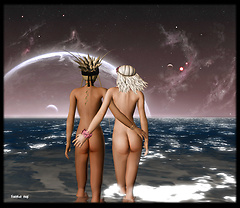 beach bums in the moonlight