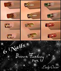 brown fantasy - 6 nails