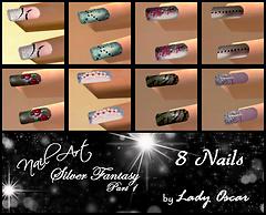 silver fantasy - 8 nails