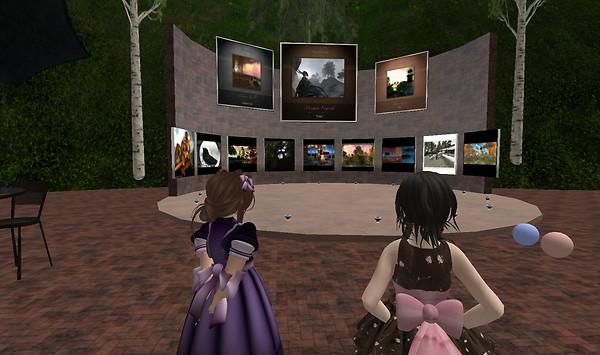 Admiring the art at Symphony - Lorimae Undercroft