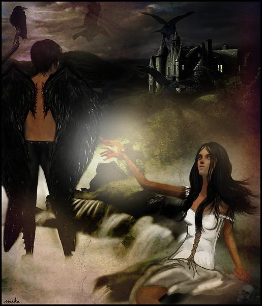 An angel wears a mask