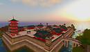 China scene at sunset