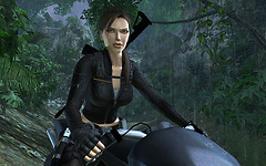 Lara Croft on her bike in Underworld/Mexico