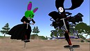 aoshi, rafee being silly on pogo sticks