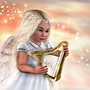 Angel playing harp