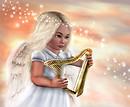 Angel playing harp