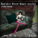 Border Over Knee socks-PINK