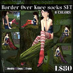 Border Over Knee socksSET  TypeA