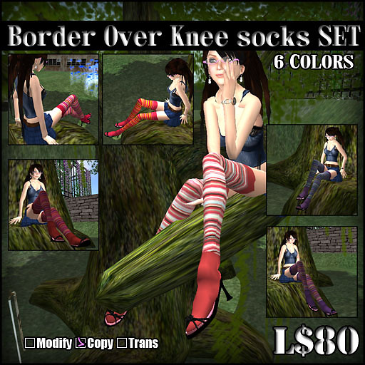 Border Over Knee socksSET  TypeA