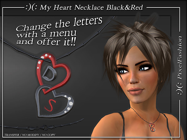 My Heart Necklace Black&Red