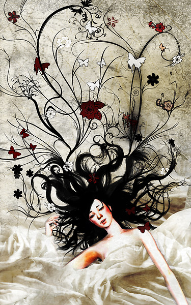 She puts flowers and butterflies in her hairs