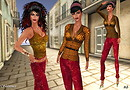 Prism 2010  Shimmer Sequin Leggings Outfit - Red
