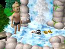 Badender am Wasserfall