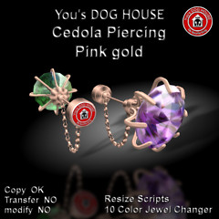 You's DOG HOUSE Cedola Piercing Pink gold
