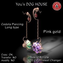 You's DOG HOUSE Cedola Piercing Long Tyep Pink gold