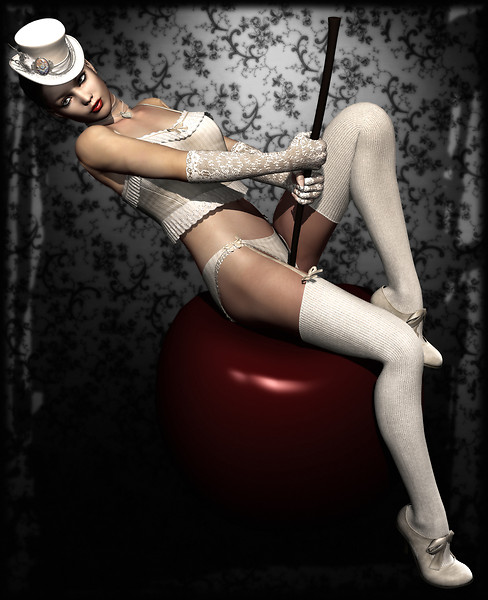 Mademoiselle Innocence - poses with a cherry