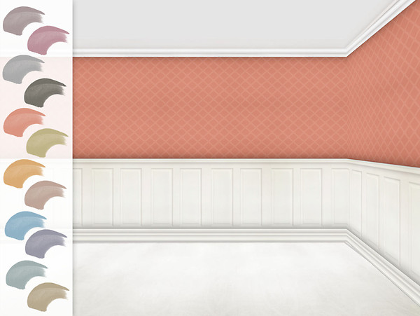 Panelled walls - watermelon diamonds wallpaper