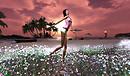 Melli with flower garden jul 18- sunset