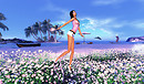 Melli with flower garden jul 18 blue sky