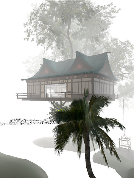 Around a chinese house in a tree...