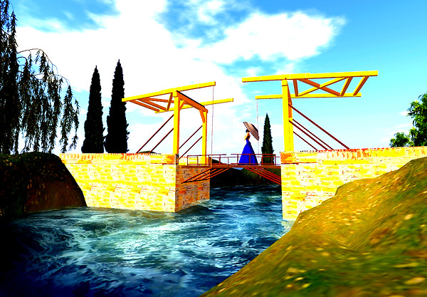 Drawbridge with a Lady with a Parasol