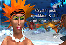 Crystal pear necklace and shell erring set