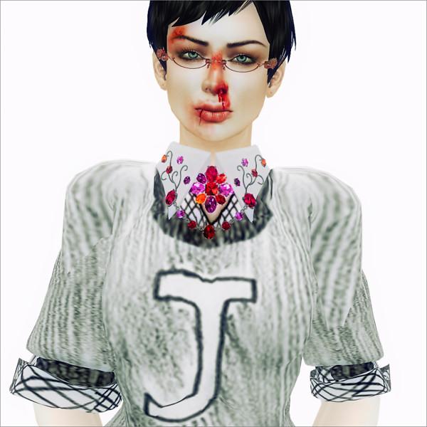 *CP* la BELLA [Cross Brooch with Collar] Ruby