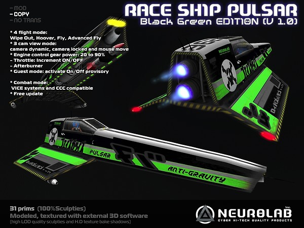 [Neurolab Inc] Race Ship Pulsar (black-green) v1.0.95 vendor