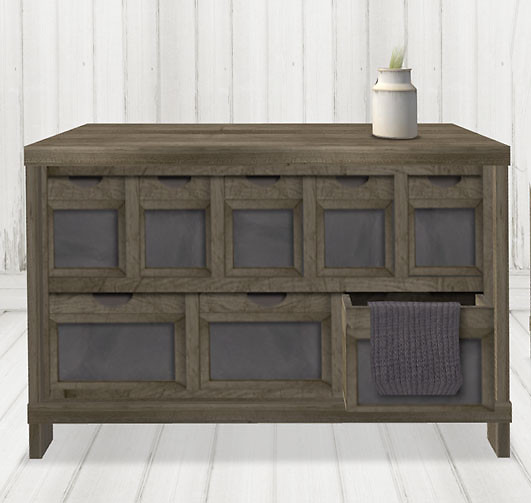 reclaimed chest of drawers with open drawe1
