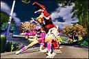 Pink Power Ranger and the Tyrannosaurus Dinozord