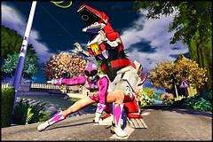 Pink Power Ranger and the Tyrannosaurus Dinozord