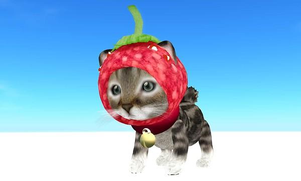 neko gurumi tiny avatar with strawberry hat - torley.linden