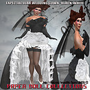 Paper doll -expectacular wedding gown in black -withe only