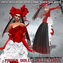 Paper doll - expetacular in black-RED-white  wedding gown2626