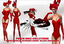 Paper doll - expetacular in black-RED-white  wedding gown 252525