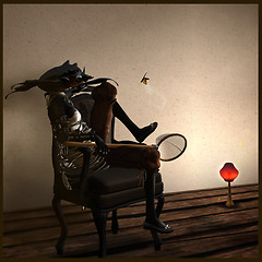Black Khepri with Butterfly