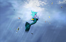 She flies underwater